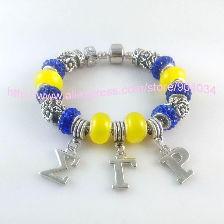Newest   Sigma Gamma Rho Sorority   Bracelet SGR  charm bead  bracelet Jewelry  1pcs free shipping