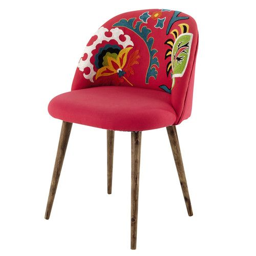 Chaise vintage en coton brodé et bois de sheesham rose