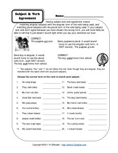 Subject and Verb Agreement.  I LOVE this website for free worksheets for tutoring.