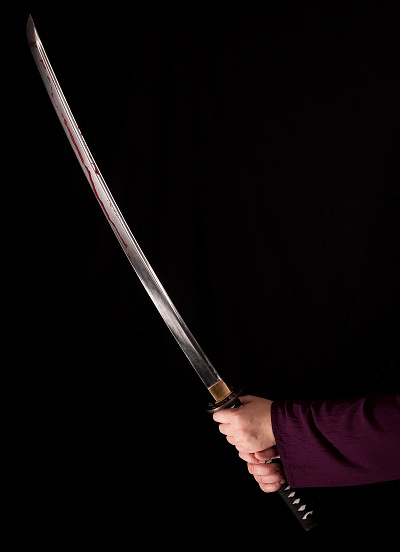 The bloodied sword. Photograph by Francois Venter. Sword borrowed from a friend.