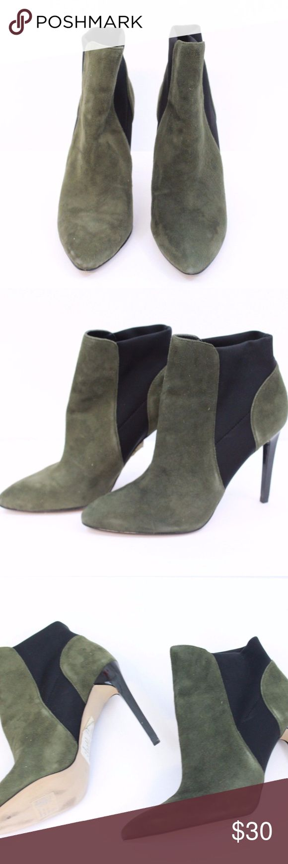 French Connection Women's Booties Sz 9 French Connection Women's Booties Sz 9 Stiletto Heels Olive Green Black   Brand: French Connection  Size:  US 9, UK 39 Condition: Used, No rips, No stains French Connection Shoes Ankle Boots & Booties