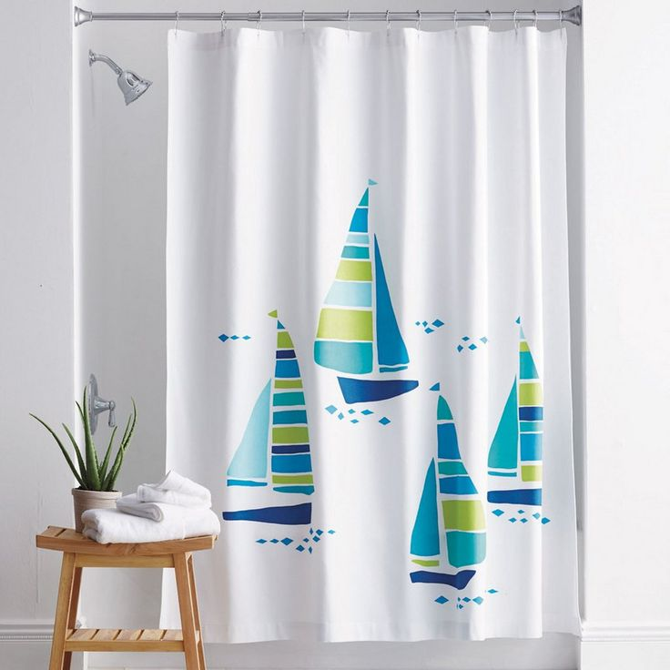 sail away shower curtain bring the beach into the bath with this whimsical cotton shower
