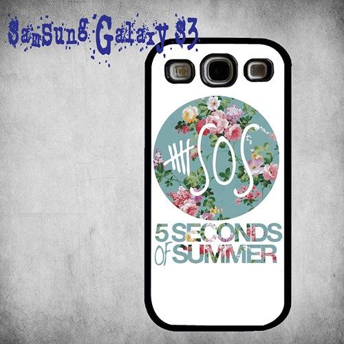 5 Seconds Of Summer Vintage Floral Logo Print On Hard Plastic Samsung Galaxy S3, Black Case