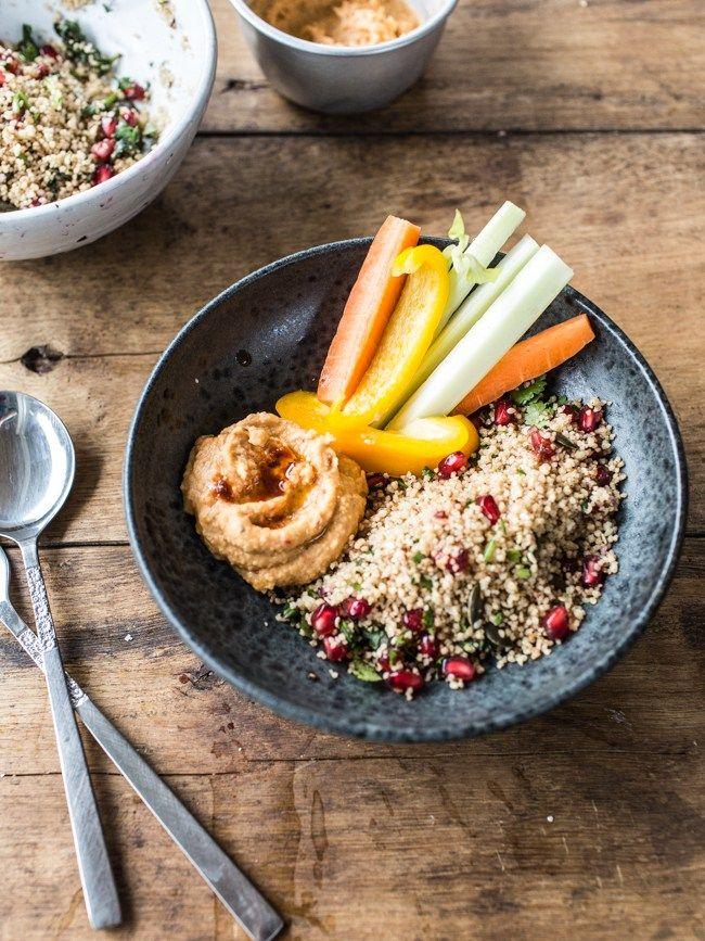 Easy Desk Lunch I : Red Lentil-Harissa Hummus & Herbed Couscous (Vegan, GF Version) - Izy Hossack - Top With Cinnamon