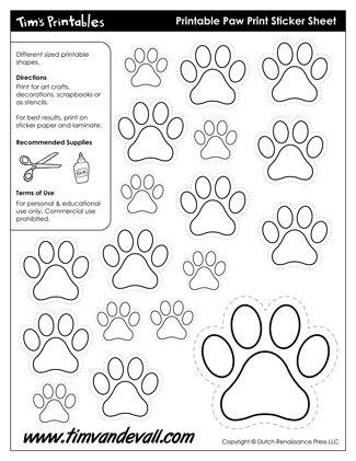 Printable Paw Print Templates Printable Sticker Sheets In Black