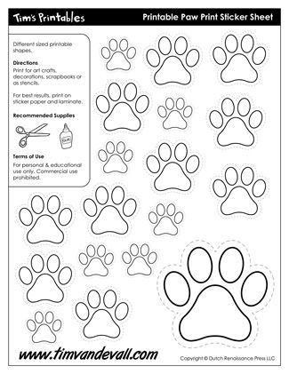 Printable Paw Print Templates, free for personal arts and crafts projects. For high resolution JPEG (1200x 927) please visit: http://timvandevall.com/shape-templates/paw-print-template-shapes/