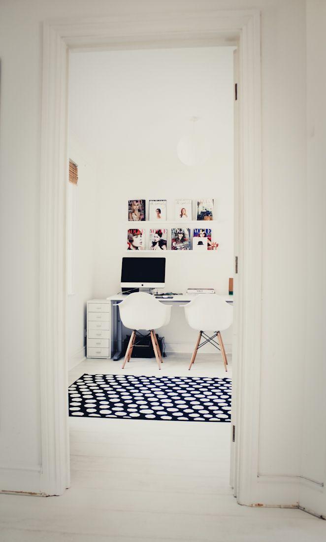 White floors and polka dot