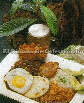 Bandeja paisa.  Plato típico de la comida colombiana, muy conocido.