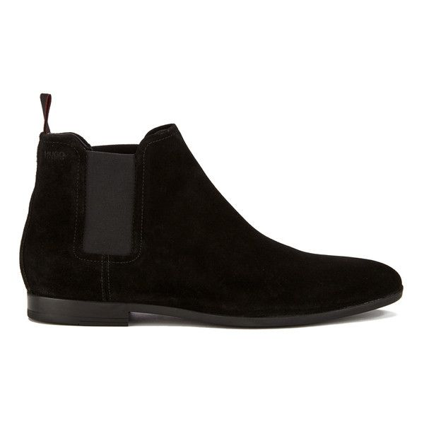 HUGO Men's Pariss Suede Chelsea Boots - Black (730 BRL) ❤ liked on Polyvore featuring men's fashion, men's shoes, men's boots, black, mens slip on shoes, mens black boots, mens slipon shoes, mens black slip on boots and mens shoes