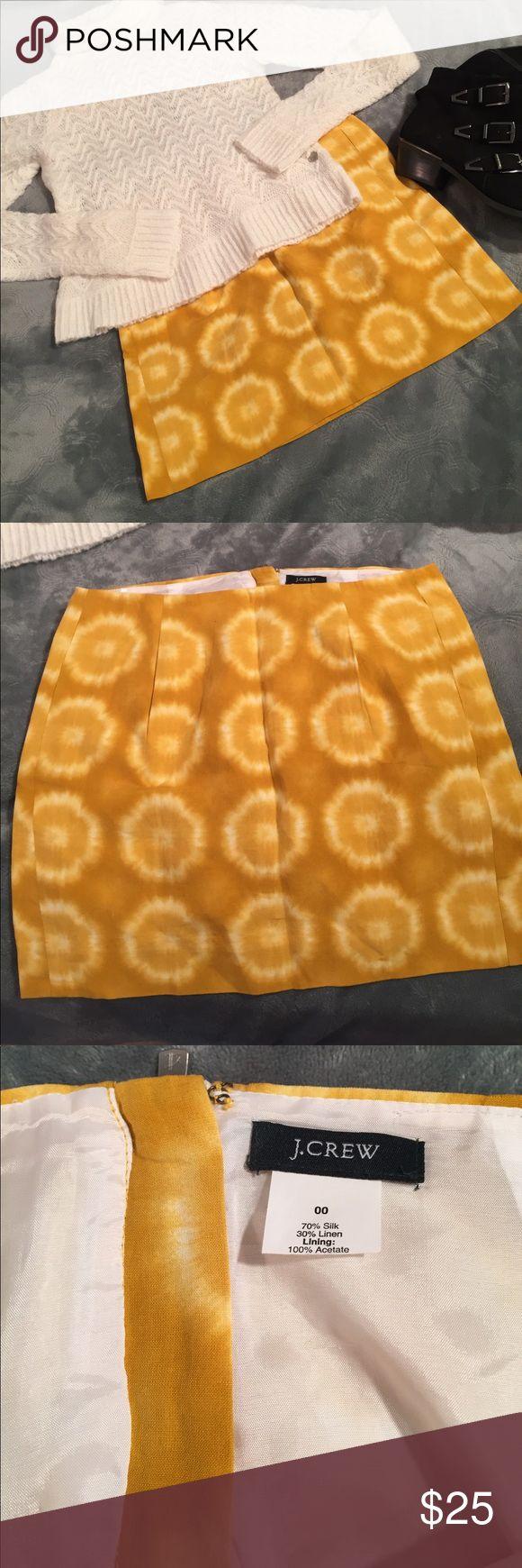 "J.crew yellow tie dye skirt 70% silk, 30% linen with exposed zipper back. Waist is 14"" across. Skirt is 14.5"" long. J. Crew Skirts Mini"