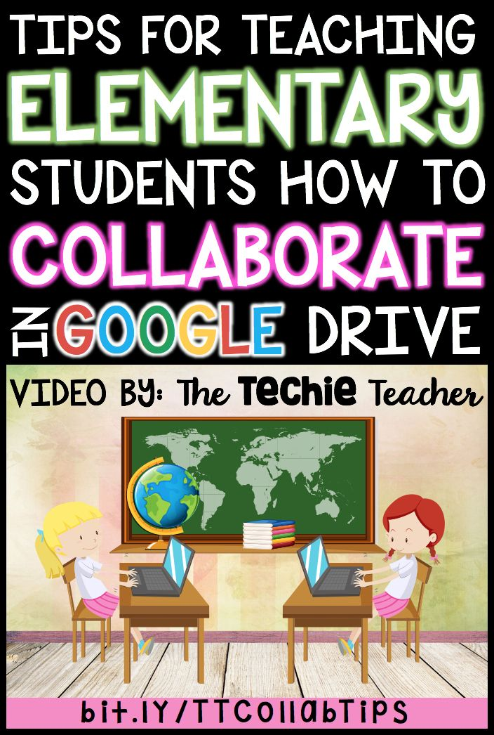 Tips for Teaching Elementary Students How to Collaborate in Google Drive is a FREE video for the reluctant teacher who is hesitant to have his/her students work together digitally in Google Docs, Google Slides, Google Drawing, Google Sheets, Google Forms,