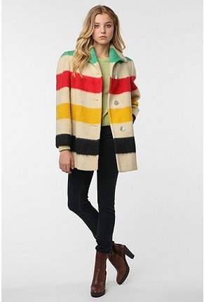 The colorful bold  stripe of green,red,yellow and dark blue-y-purple is trademark of Hudson's bay.This coat is the 2014 winter coat of hudson bay's. #MKM915 #fashion #hudsonbay #wintercoat