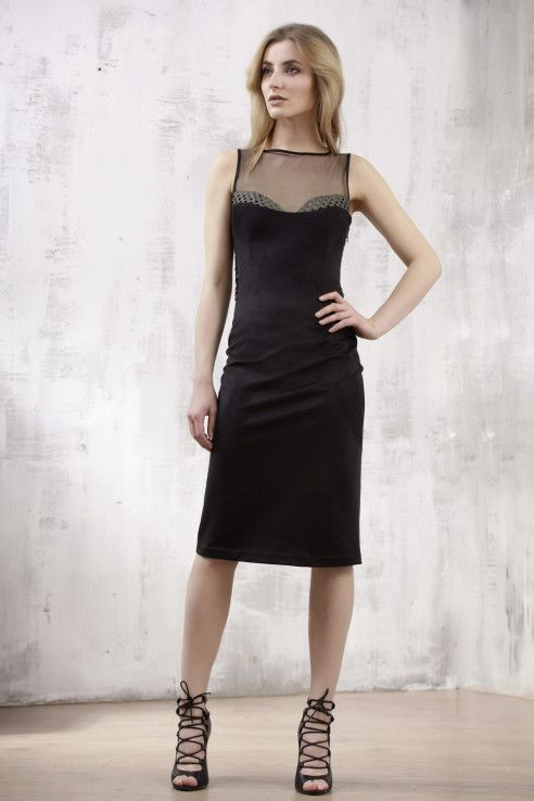 Black suede dress with khaki leather openwork elements - malubi.co Fashion for elegant woman who loves premium label.