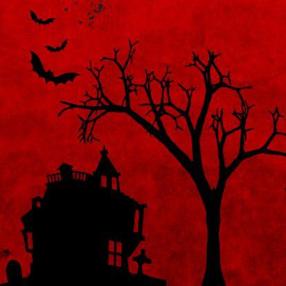 Halloween kaarten - Happy Halloween in rood en zwart