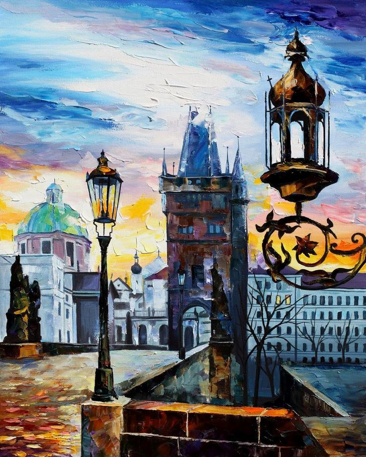 """""""Evening In Prague"""" by Leonid Afremov ___________________________ Click on the image to buy this painting ___________________________ #art #painting #afremov #wallart #walldecor #fineart #beautiful #homedecor #design"""