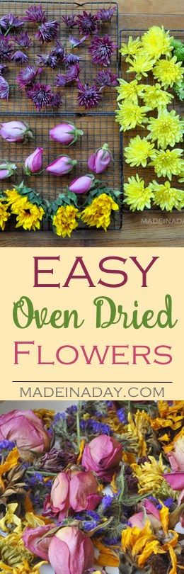 Dry out those beautiful floral bouquets fast using low heat on your oven. Use dried flowers for crafts and potpourri. DIY