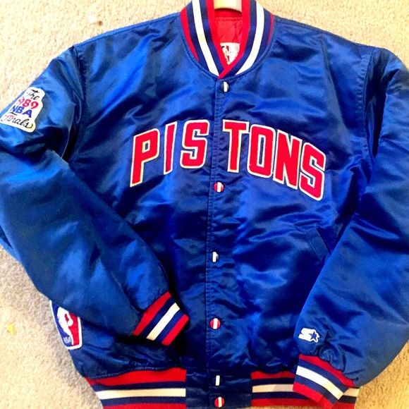Detroit Pistons vintage Starter jacket Large L VTG Detroit Pistons vintage NBA blue satin Starter jacket Large unisex adult. VTG from the 80s and 90s... will fit size Large to Medium. Beautiful royal blue satin with red white and blue USA patriotic colorway. Custom mint hand painted buttons and arm patch. Includes embroidered NBA logo patch and Starter logo patch. EUC excellent vintage condition with little to no signs of wear. Light quilted lining  & 2 front pockets. Check out more VINTAGE…