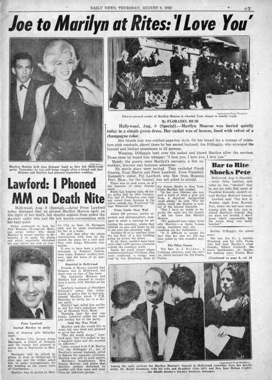 Daily News 9/08/1962 - Divine Marilyn Monroe