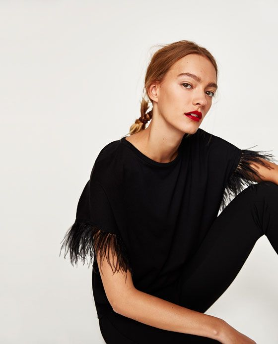 T-SHIRT WITH FEATHERS from Zara