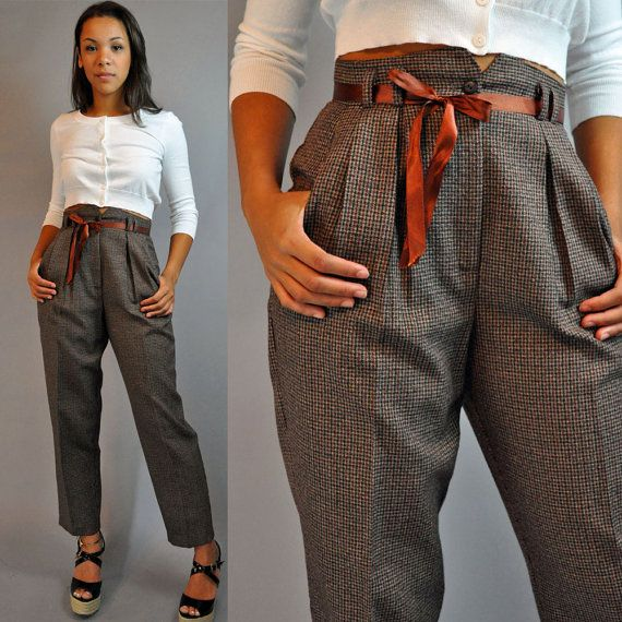 80s vintage HIGH WAISTED pants / PLAID TROUSERS Pleated Front High Waist w/ taper leg s / small    amazing pair of plaid high waisted trousers