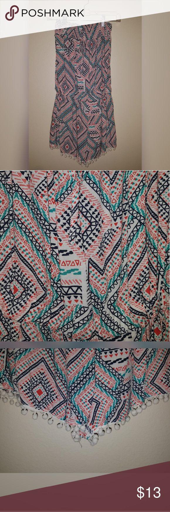 Geo Aztec Smocked Off-Shoulder Romper Colorful Geo Aztec Smocked Off-Shoulder Tube Top Romper With Pom Pom Fringe - Worn A Few Times - No Tears, Stains, or Smells Rue 21 Other