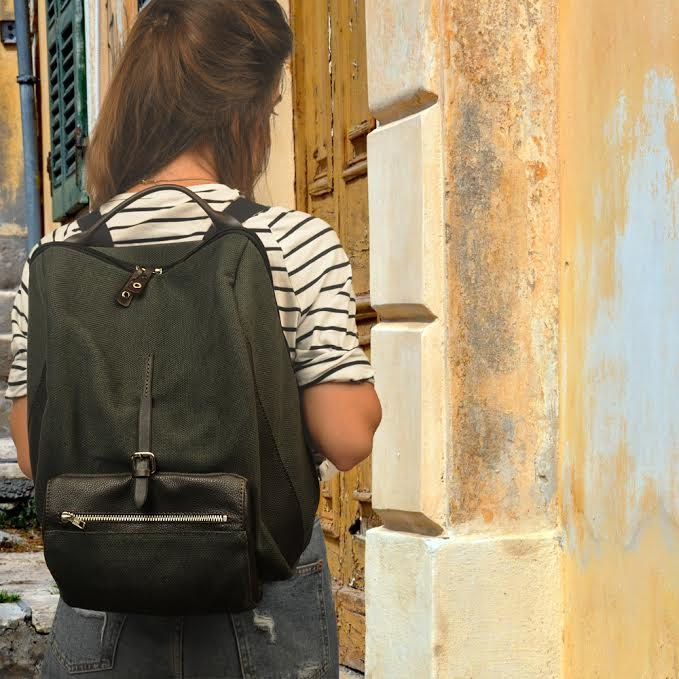 Stylish backpack ,for men and women in cotton canvas-leather ,named TILOS by iyiamihandbags on Etsy