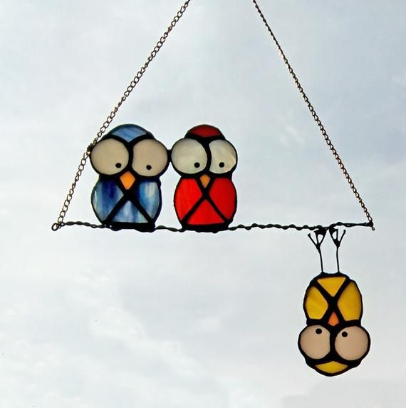 Stained glass suncatcher Funny Owls / Custom stained glass window hangings / Tiffany technique / Gar