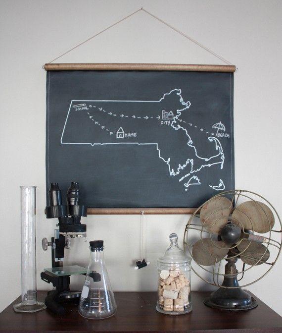 Custom Chalkboard State Map, $45