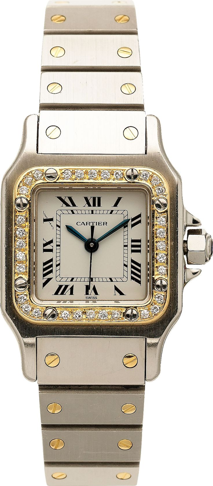 Cartier Lady's Diamond, Gold, Stainless Steel Santos | Lot #59001 | Heritage Auctions http://www.thesterlingsilver.com/product/cluse-la-boheme-rose-gold-black-ladies-watch-cl18001/