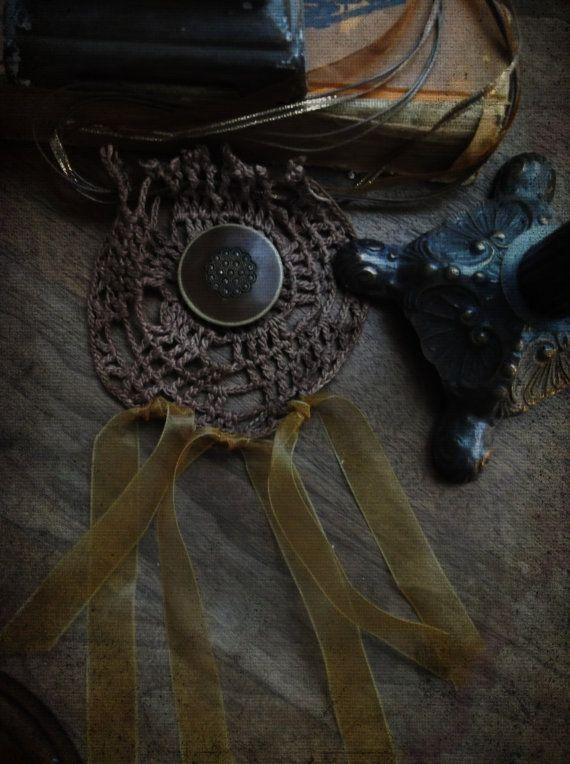 Boho Necklace Bib Choker. Woodland Shabby Bohemian Crochet Jewelry