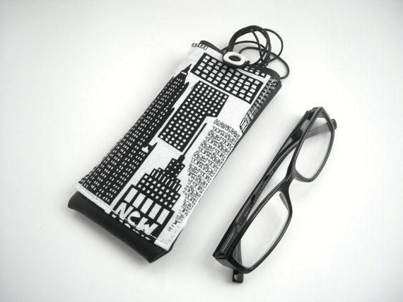 New York city eyeglass case lanyard eyewear holder black by Lunica