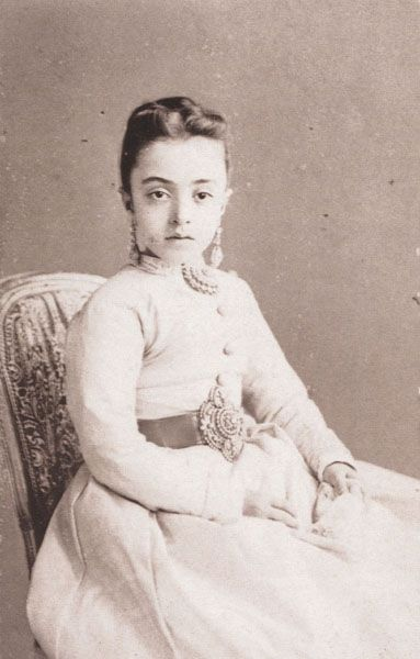 The 11 year old Sâliha Sultana, daughter of Sultan Abdülaziz (1861-1876) and of the Georgian Dürrünev Kadın Efendi, on her visit card made by the Abdullah Brothers in 1873.