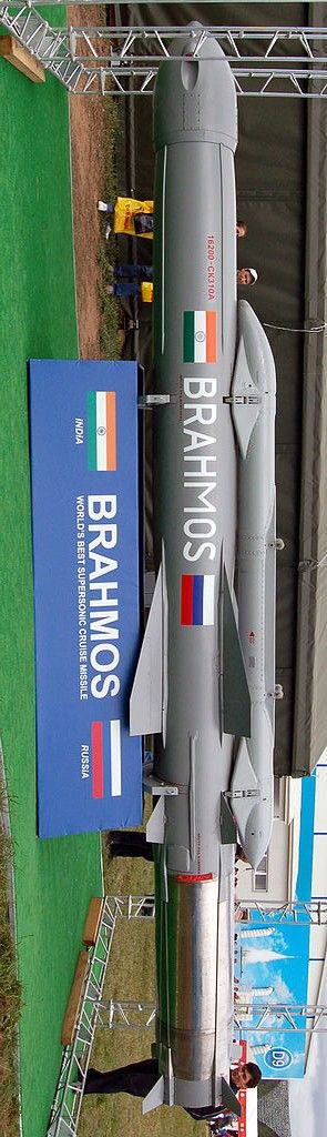 Brahmos (missile)- Type-Cruise Range-300–500 km (190–310 mi)[1] Stages/Fuel-Two/Solid and Liquid(d) Payload Capacity-200-300 kg Last Reported Test-May 2015