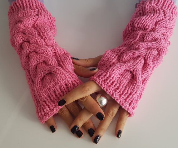 Pink finger less wool gloves Pink wool arm by TogetherDifferent