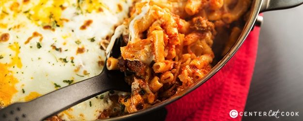 Easy Skillet Baked Ziti with Italian Sausage