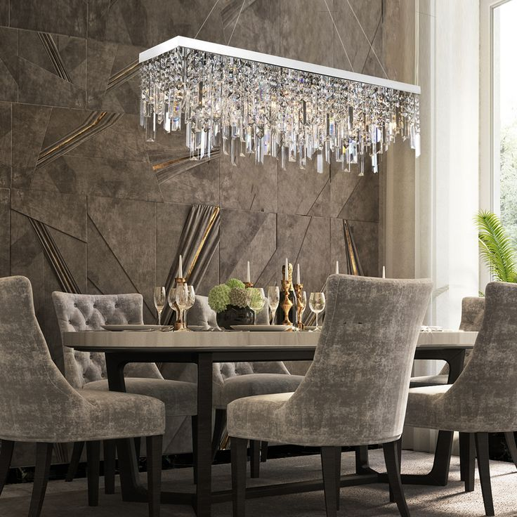 Rectangular Crystal Chandelier With, Modern Dining Room Chandeliers