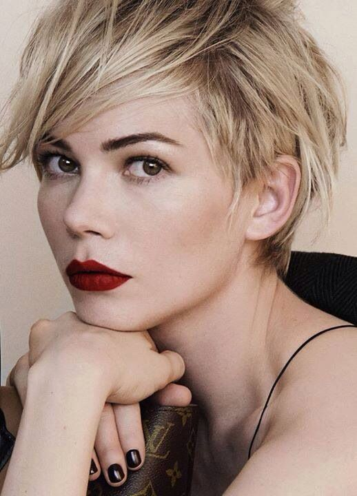my blond pixie muse; getting some ideas to fix the mess on top of my head...