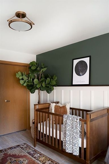 Love The Wood Trim Doors White Wainscoting And Forest Green Walls