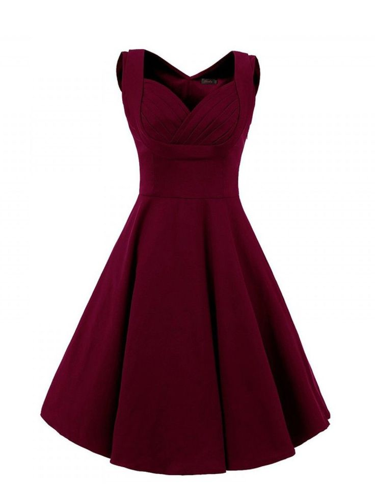 Women Vintage Style Square Neck Knee Length Burgundy Swing Party Dress