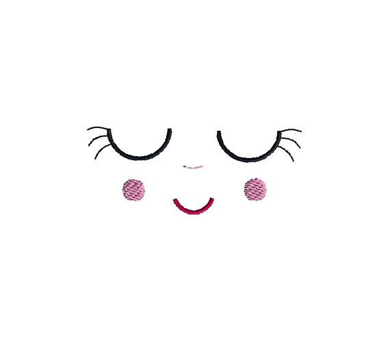 Sleeping Doll Face Machine Embroidery Design-INSTANT DOWNLOAD