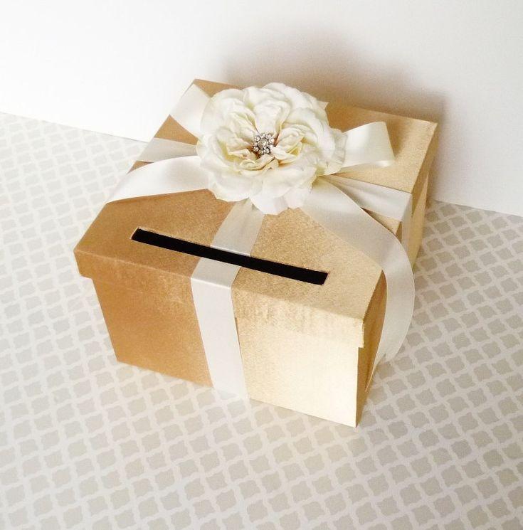 Wedding Card Box Gold Ivory Money Holder