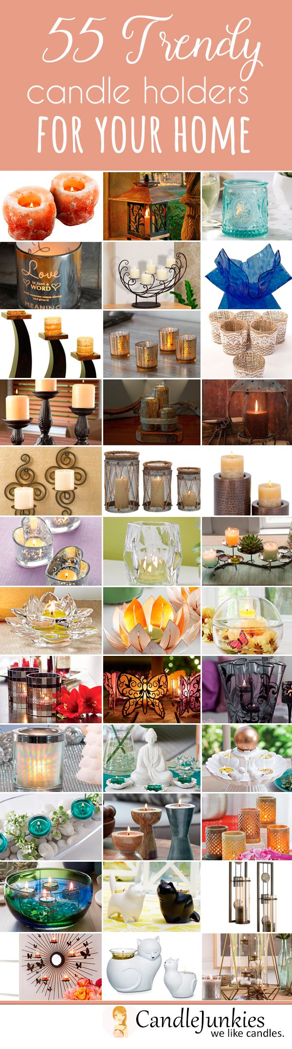 These 55 trendy candle holders can add those much needed final touches to your homes decor. #candleholders #candles #decor