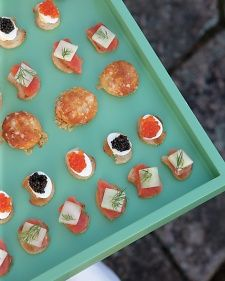 deviled quail eggs with caviar, and gravlax and cucumber crostini