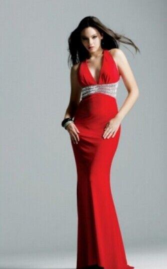 Röda långa / Golv-längd chiffong Backless Balklänningar