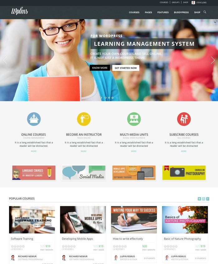 WPLMS Learning Management System is Learning Management System Theme for WordPress with a very attractive design.