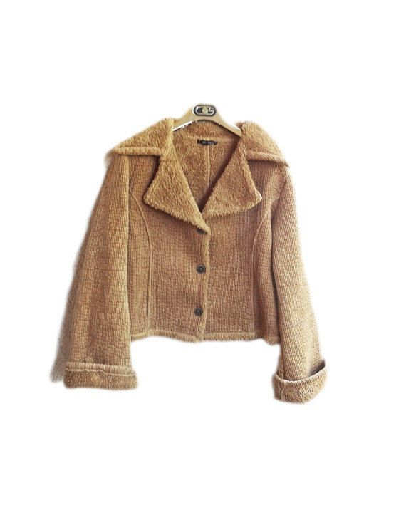 Vtg 80s  Jacket Corduroy Shearling  DENNY ROSE Wool Patted Mustard Unique Italia