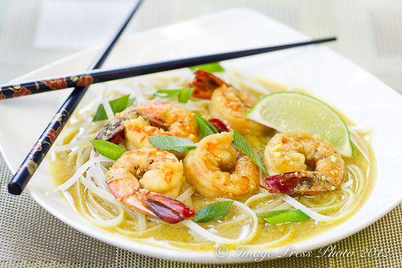 Coconut Laksa with Shrimp (Coconut-Curry Noodle Soup with Shrimp): Coconut Prawn, Coconut Shrimp, Coconut Curry Noodle, Coconut Laksa, Coconut Curry Shrimp, Curries