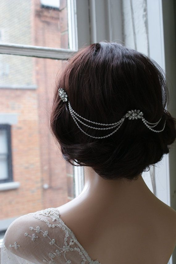 Hair Chain Headpiece  Art Deco Headpiece Bridal hair by AgnesHart