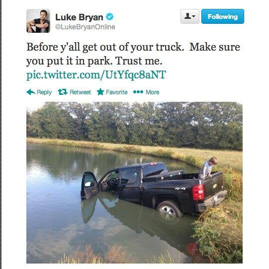 Luke Bryan's truck in the lake