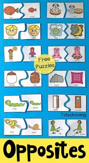 FREE printable puzzles to teach preschoolers about antonyms and opposites. Includes 12 self-correcting puzzles with visual cues to find the matching pair of antonyms.
